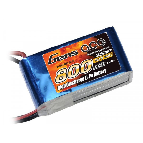 Gens ace 800mAh 11.1V 40C 3S1P Lipo Battery Pack