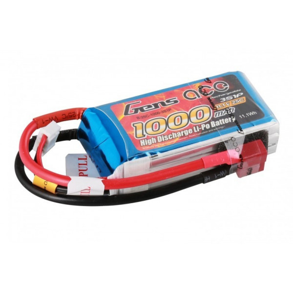 Gens ace 1000mAh 11.1V 25C 3S1P Lipo Battery Pack