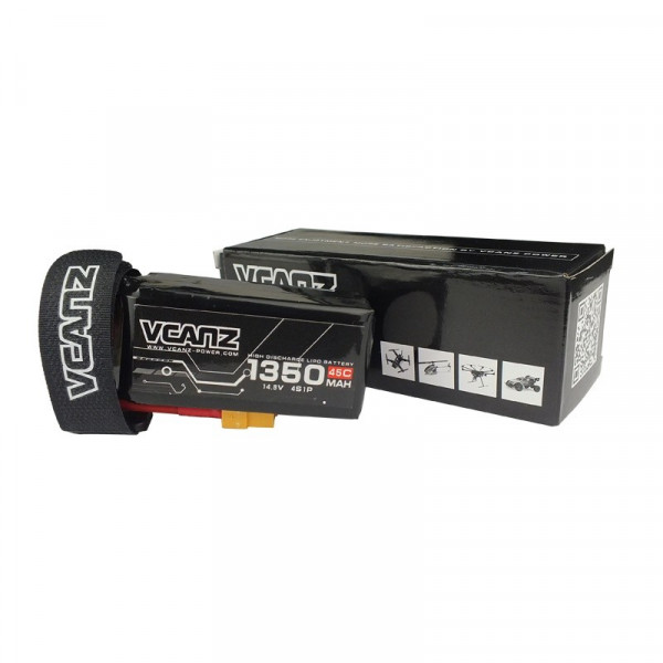 VCANZ - Batteria LIPO 1350mAh 45C 14.8V 4S XT60