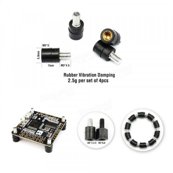 Realacc - Set 4 Pz. Rubber Vibration Damping - M3 x 7 + 4.5