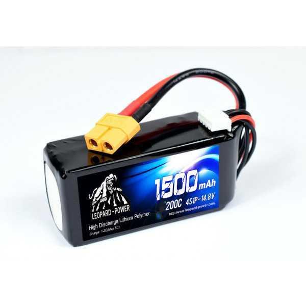 Leopard Power - Batteria LiPo 4S1P 14.8V - 1500mAh - 200C - XT60