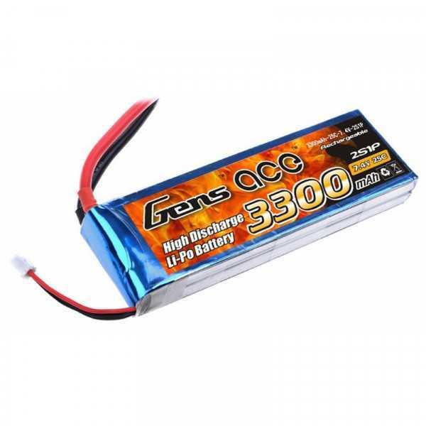 Gens ace 3300mAh 7.4V 25C 2S1P Lipo Battery Pack
