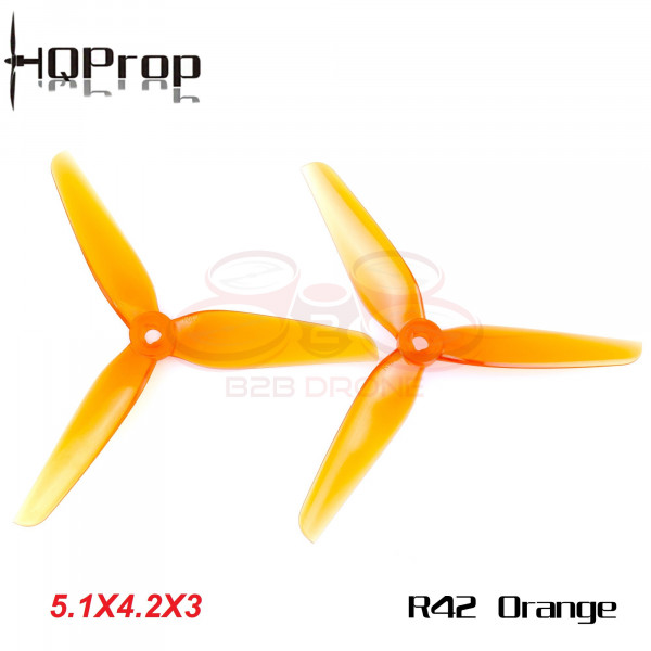HQPROP - R42 Set Eliche 5142 Tre Pale (5.1x4.2x3) (2 CW + 2 CCW) - Colore Arancione