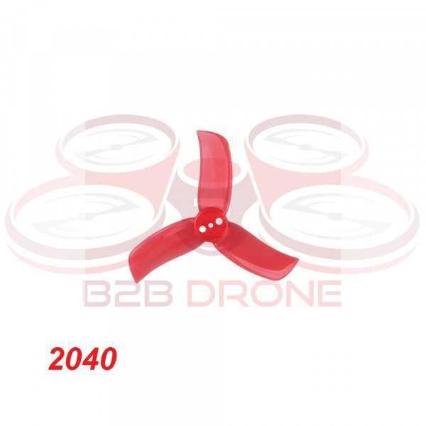 GEMFAN - Set Eliche Tri-pala 2040 (4 CW / 4 CCW) per Droni FPV Racing - Colore Rosso