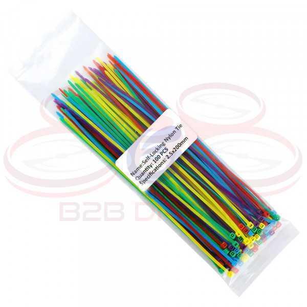 Fascette serracavo in Nylon Lunghezza 200mm larghezza 2.5mm multi colore