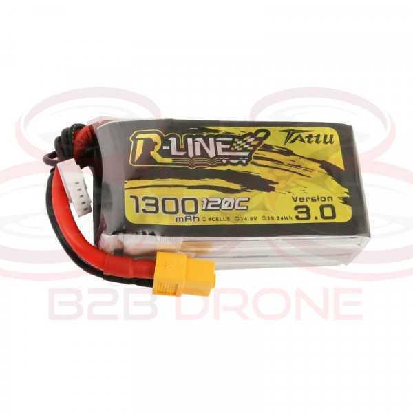 Tattu R-Line V 3.0 1300mAh 22.2V 120C 6S1P Lipo Battery Pack - Plug XT60