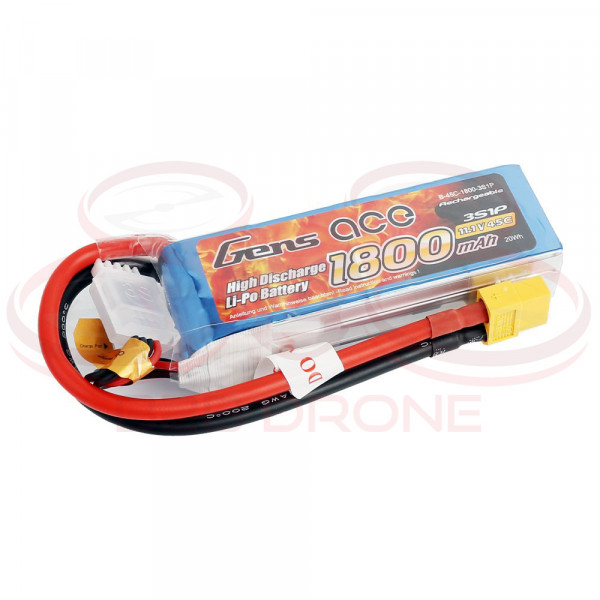 Gens ace 1800mAh 11.1V 45C 3S1P Lipo Battery Pack - Plug XT60