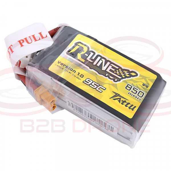 Tattu R-Line 850mAh 14.8V 4S1P 95C Lipo Battery Pack - Plug XT30