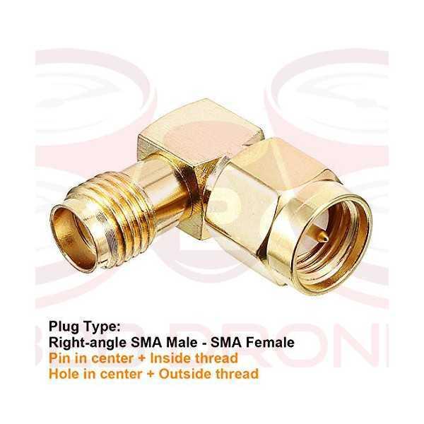 Connettore adattatore Antenna 90 Gradi SMA Maschio a SMA Femmina