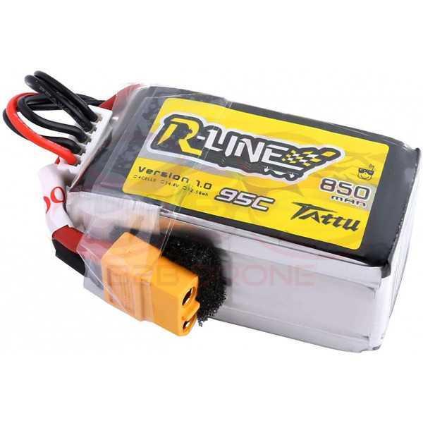 Tattu R-Line 850mAh 14.8V 4S1P 95C Lipo Battery Pack - Plug XT60