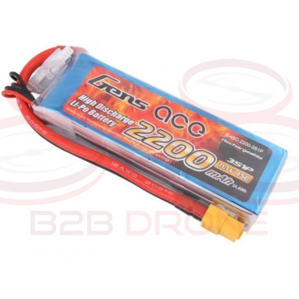 Gens ace 2200mAh 11.1V 45C 3S1P Lipo Battery Pack - Plug XT60