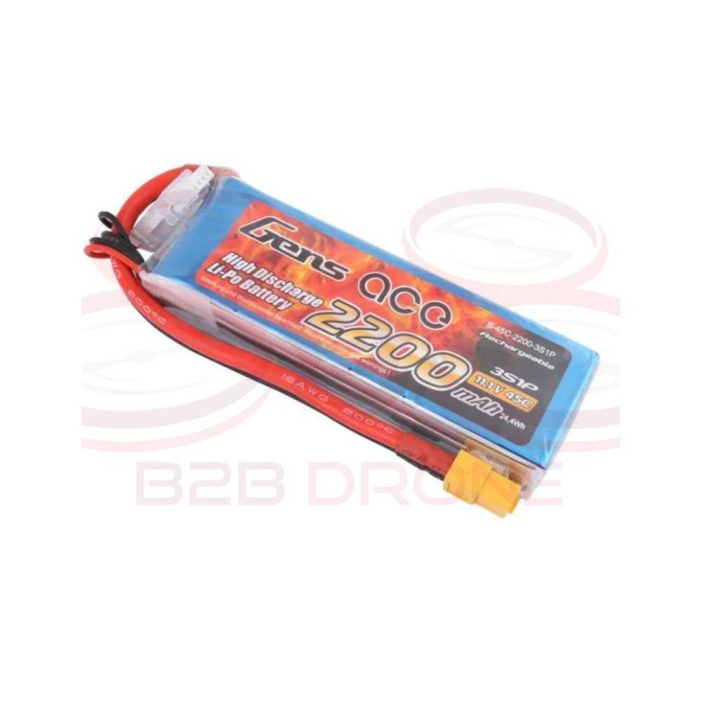 Gens ace 2200mAh 11.1V 45C 3S1P Lipo Battery Pack - Plug XT60