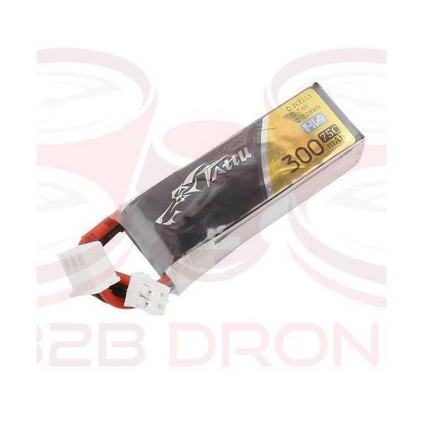 Tattu 300mAh 7.6V 75C 2S1P Lipo Battery Pack Pack - Plug JST-PHR-2P