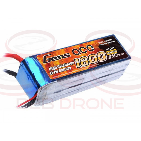 Gens ace 1800mAh 14.38 40C 4S1P Lipo Battery Pack - T Plug