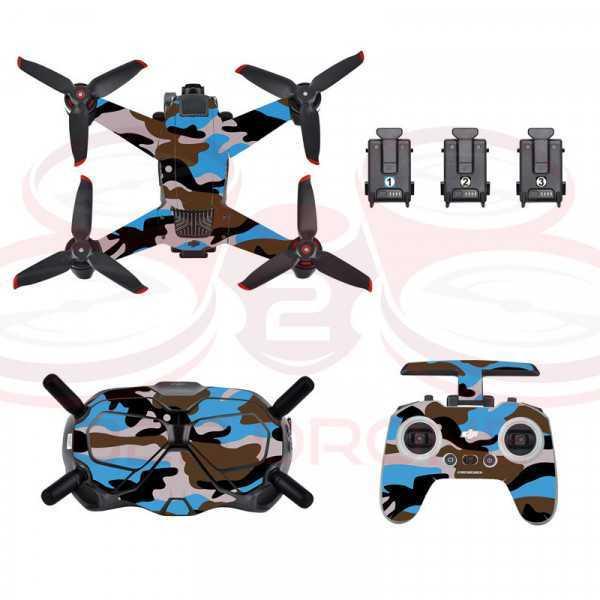 DJI FPV - Sticker Camouflage Blue per Drone Radiocomando e Goggles - STARTRC