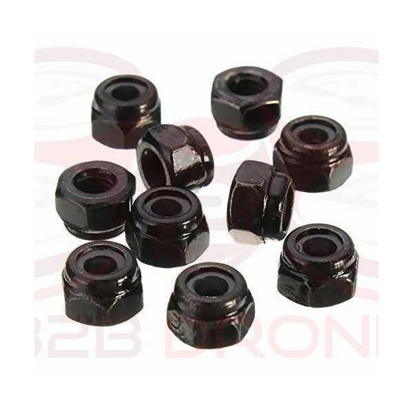 Set 10 Pz. Dadi in acciaio autobloccanti - Colore Nero