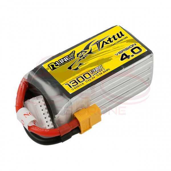 Tattu R-Line V 4.0 1300mAh 22.2V 130C 6S1P Lipo Battery Pack - Plug XT60