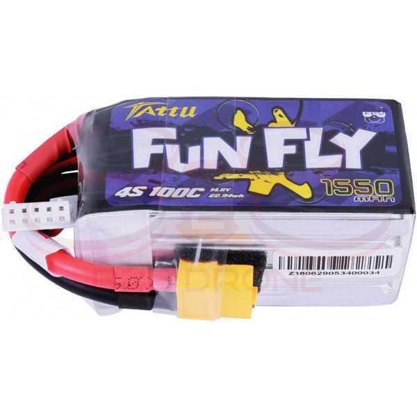 Tattu Fun Fly 1550mAh 14.8V 100C 4S1P Lipo Battery Pack - Plug XT60