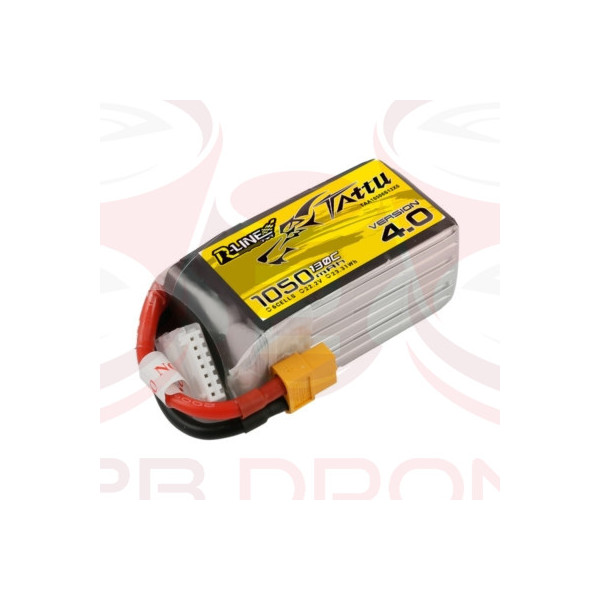 Tattu R-Line V 4.0 1050mAh 22.2V 130C 6S1P Lipo Battery Pack - Plug XT60