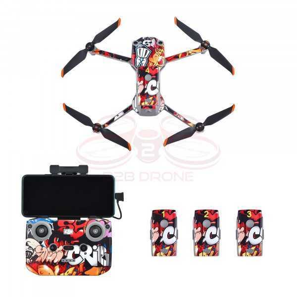 DJI Air 2S - Sticker Colorful Graffiti per Drone Radiocomando e Batterie - STARTRC