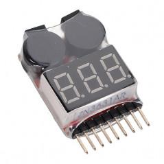 Tester LED Monitor Buzzer Allarme per Batterie LiPO 1S a 8S