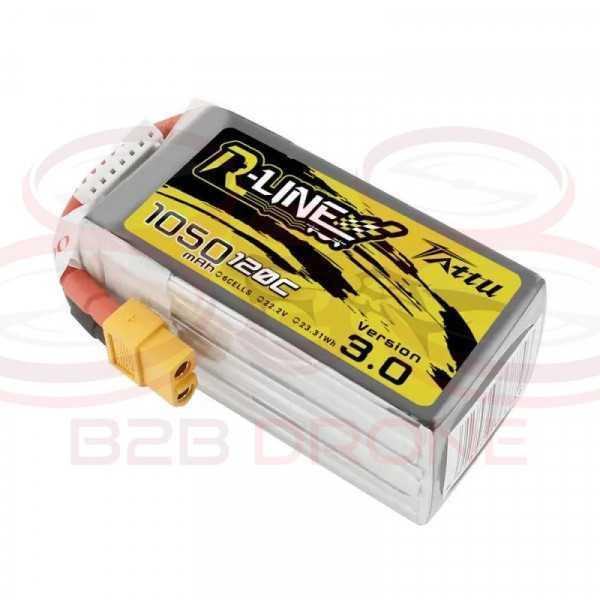 Tattu R-Line V 3.0 1050mAh 22.2V 120C 6S1P Lipo Battery Pack - Plug XT60